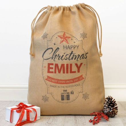 Personalised Happy Christmas Hessian Sack